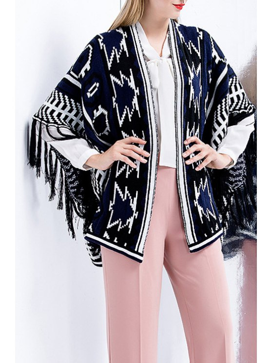 affordable Geometric Pattern Fringes Knitted Loose Fitting Cape Cardigan - SAPPHIRE BLUE S