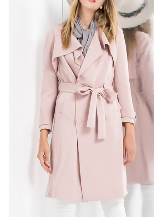 buy Double-Breasted Self-Tie Belt Trench Coat - PINK S