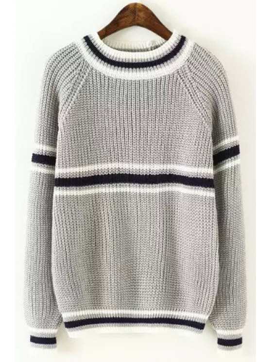 new Preppy Style Long Sleeve Striped Jumper - GRAY ONE SIZE(FIT SIZE XS TO M)