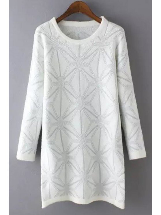unique Geometric Pattern Jewel Neck Long Sleeve Jumper - WHITE ONE SIZE(FIT SIZE XS TO M)