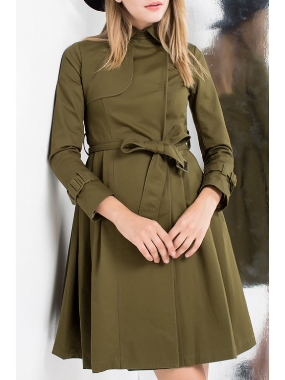 womens Pure Color Waisted Elegant Flat Collar Trench Coat - ARMY GREEN S