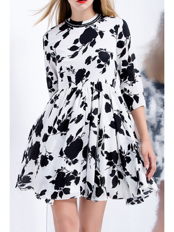 affordable Floral Print Beaded Round Collar 3/4 Sleeves Dress - WHITE S