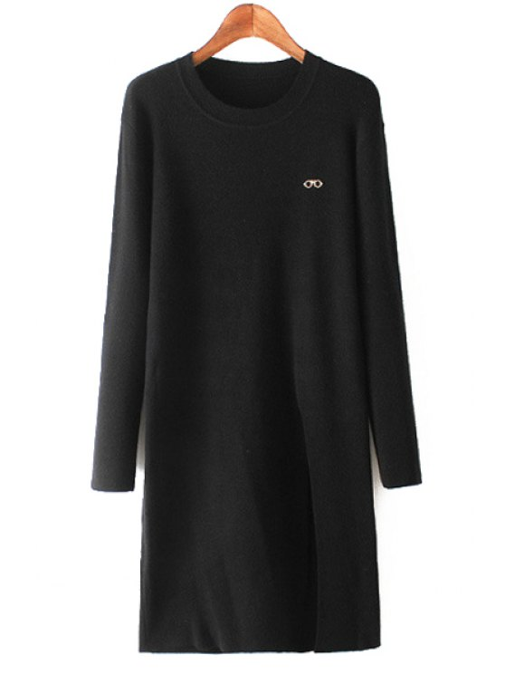 lady Side Slit Scoop Neck Long Sleeve Jumper - BLACK ONE SIZE(FIT SIZE XS TO M)