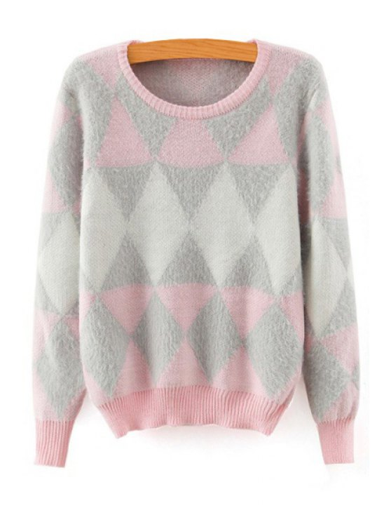 online Long Sleeve Argyle Jacquard Sweater - PINK ONE SIZE(FIT SIZE XS TO M)