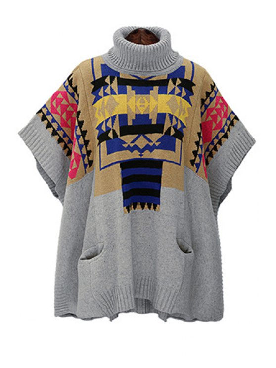 shops Geometric Pattern Turtle Neck Jumper - GRAY ONE SIZE(FIT SIZE XS TO M)