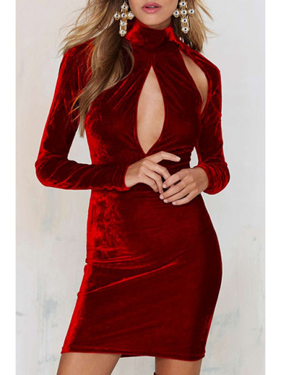 buy Solid Color Cut Out Bodycon Long Sleeves Dress - WINE RED S