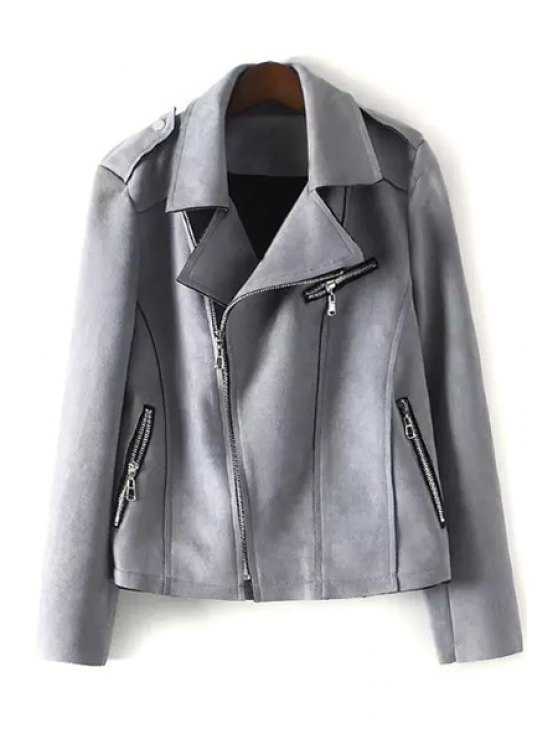 best Lapel Zip Pockets Fringed Suede Jacket - GRAY L