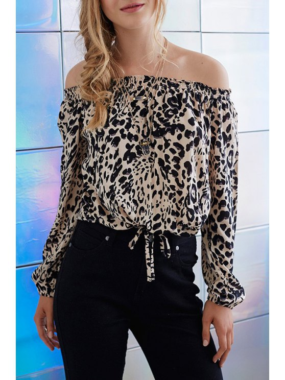 new Leopard Print Off The Shoulder Long Sleeve Blouse - LEOPARD S