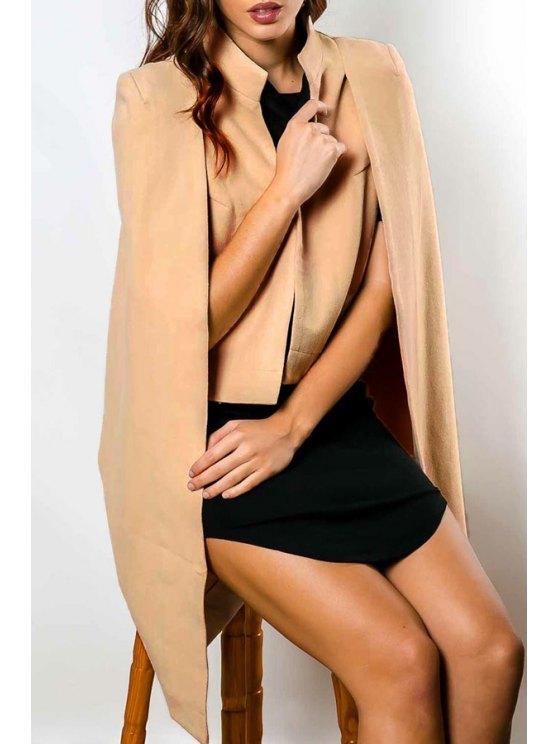 women Pure Color Asymmetric Double-Faced Cape Coat - KHAKI S