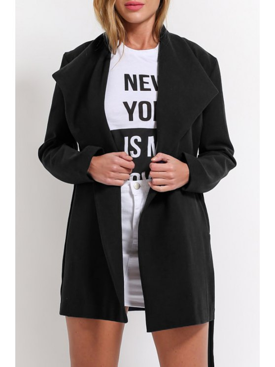 outfits Pure Color Turn-Down Collar Pockets Coat - BLACK S