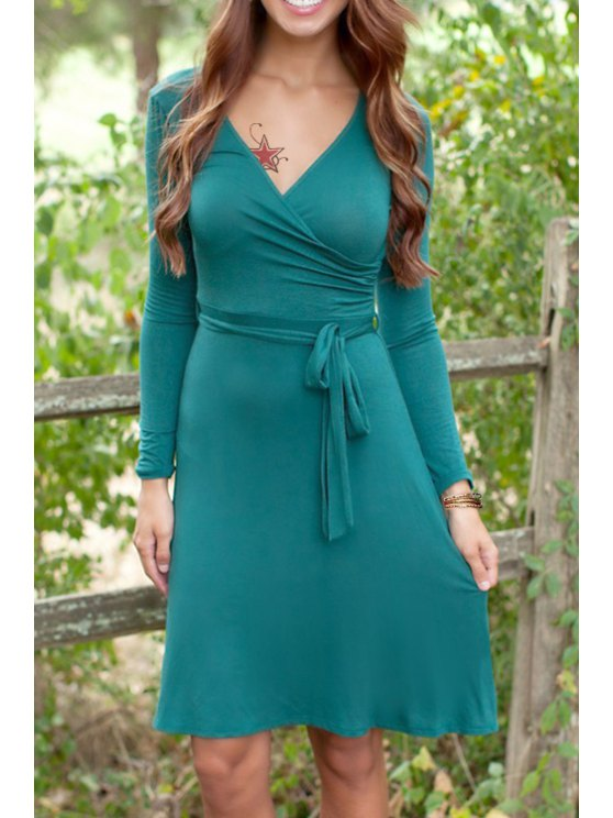 shop Solid Color V Neck Long Sleeves Dress - GREEN M