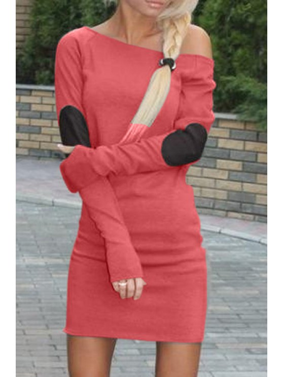 hot Applique Slimming Sloping Neck Long Sleeves Dress - WATERMELON RED S