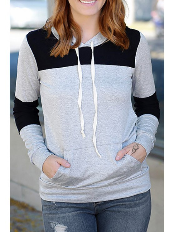 lady Black and Gray Long Sleeve Pullover Hoodie - BLACK AND GREY S