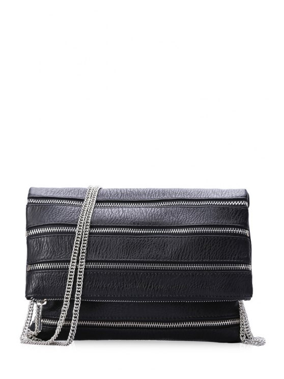 chic Chains Black Cover Crossbody Bag - BLACK