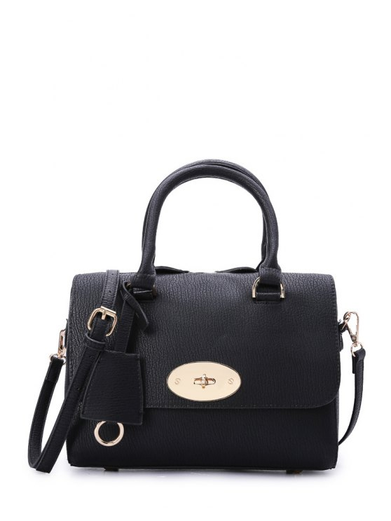 outfits Metal Hasp Solid Color Tote Bag - BLACK
