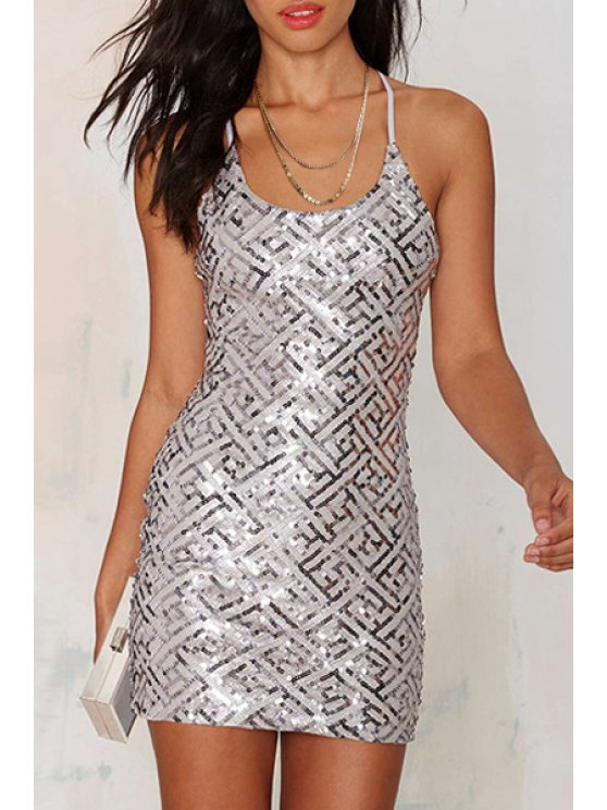 women's Sequins Spaghetti Strap Bodycon Dress - SILVER S