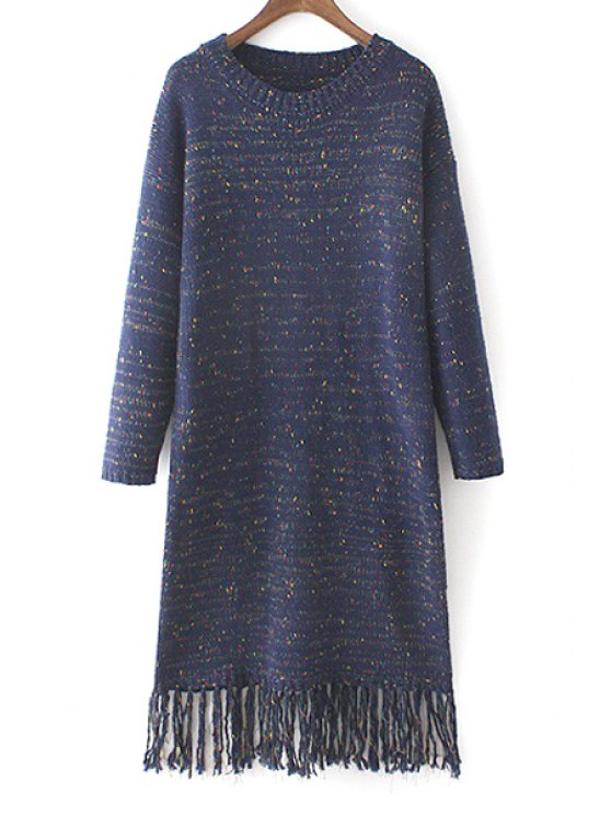 shop Mixed Color Fringed Sweater Dress - PURPLISH BLUE ONE SIZE(FIT SIZE XS TO M)