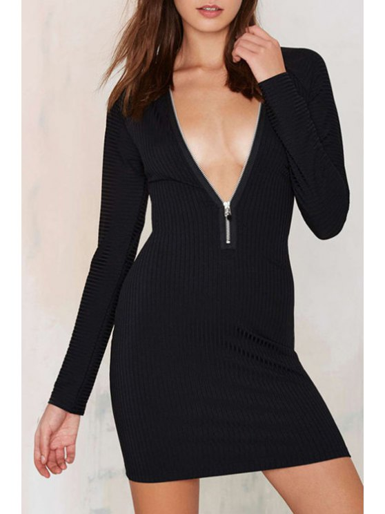 women Pure Color Zipper Embellished Bodycon Plunging Neck Dress - BLACK S