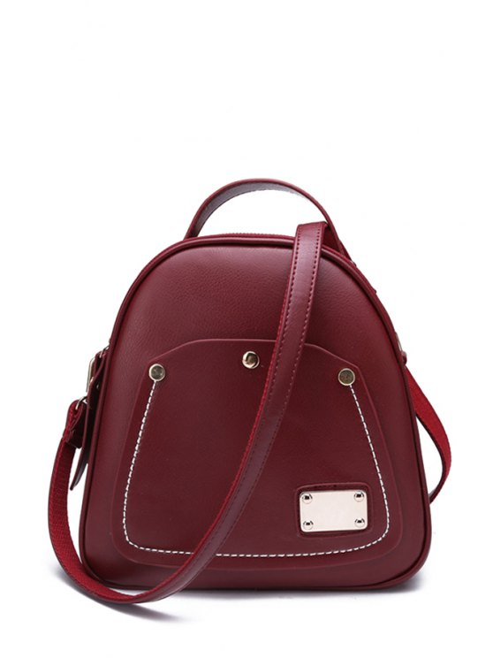 women Metal Solid Color Stitching Satchel - WINE RED