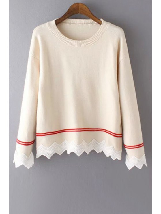 womens Round Neck Lace Hem Sweater - WHITE ONE SIZE(FIT SIZE XS TO M)
