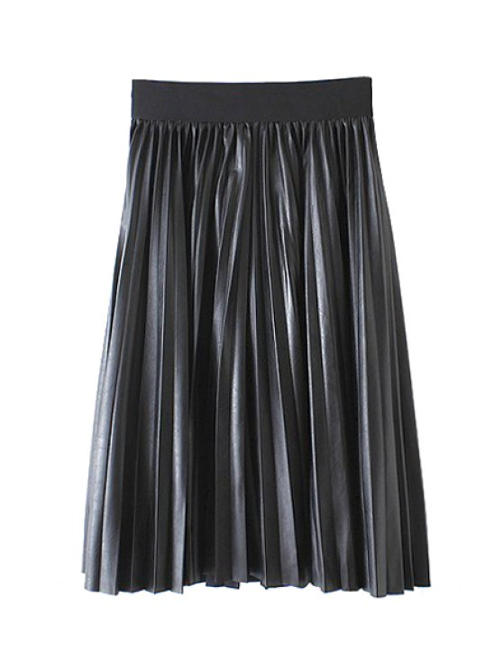 chic Pleated A-Line Midi PU Leather Skirt - BLACK ONE SIZE(FIT SIZE XS TO M)