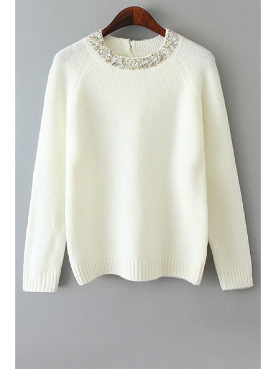 online Long Sleeve Beaded Sweater - WHITE ONE SIZE(FIT SIZE XS TO M)