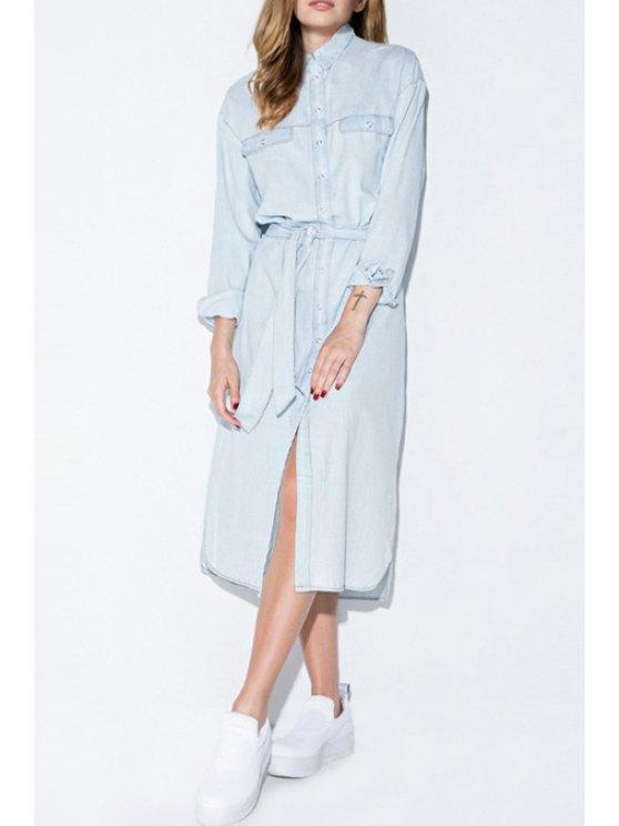 fashion Light Blue Shirt Neck Long Sleeve Dress - LIGHT BLUE S