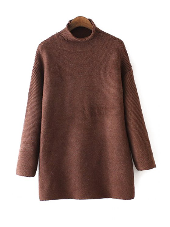 outfit Turtle Neck Pure Color Long Sweater - KHAKI ONE SIZE(FIT SIZE XS TO M)
