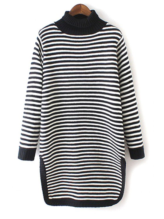 shop Turtle Neck Striped Side Slit Sweater - BLACK AND WHITE ONE SIZE(FIT SIZE XS TO M)