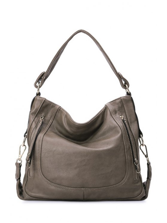 fashion Stitching Solid Color PU Leather Shoulder Bag - KHAKI