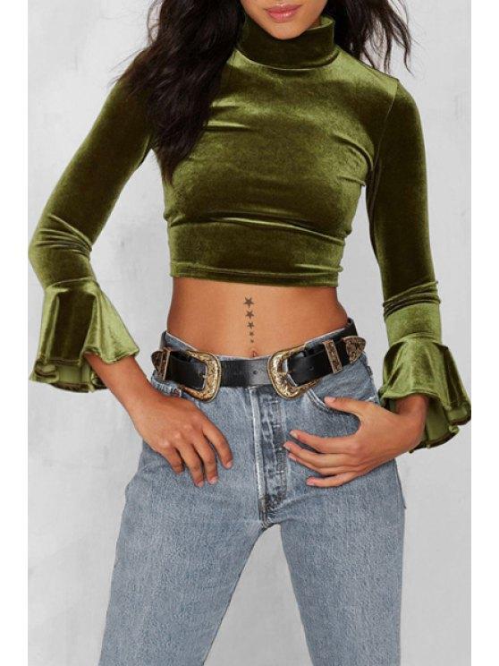 women's Green Turtle Neck Long Sleeve Cropped T-Shirt - GREEN S
