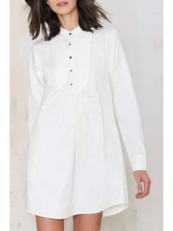 lady Solid Color Button Loose Fitting Long Sleeves Shirt Dress - WHITE XS