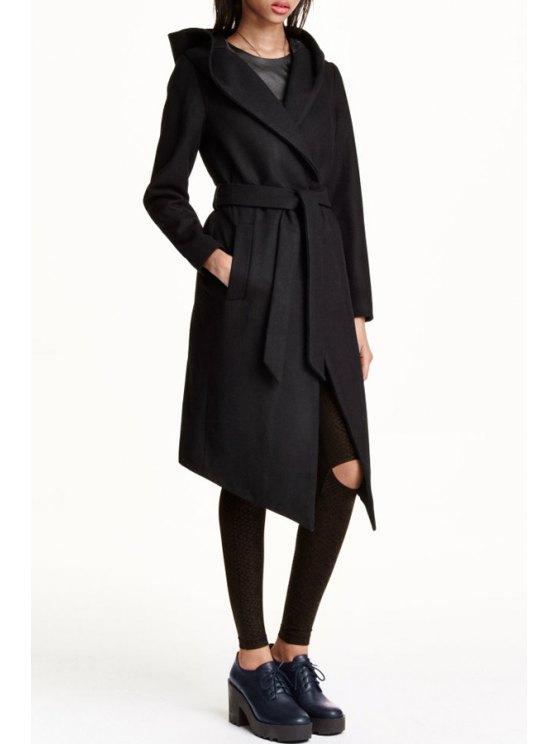 lady Black Turn Down Collar Long Sleeve Coat - BLACK S