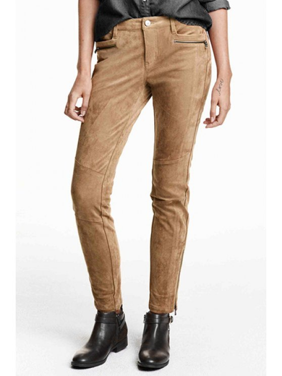 best Suede Pockets Zipper Embellished Solid Color Narrow Feet Pants - KHAKI XS