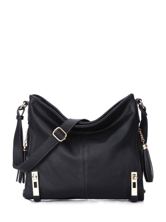 affordable Tassels Metal Solid Color Crossbody Bag - BLACK