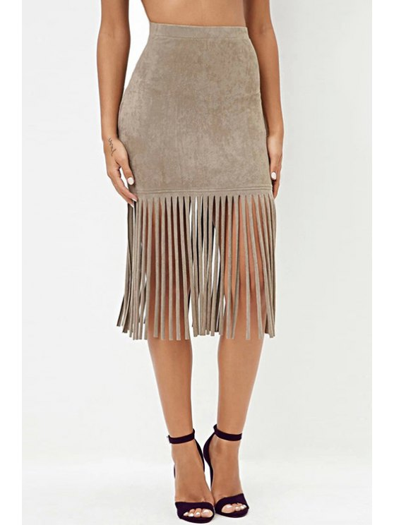 outfit High Waisted Tassels Solid Color Sexy Mini Skirt - KHAKI XS