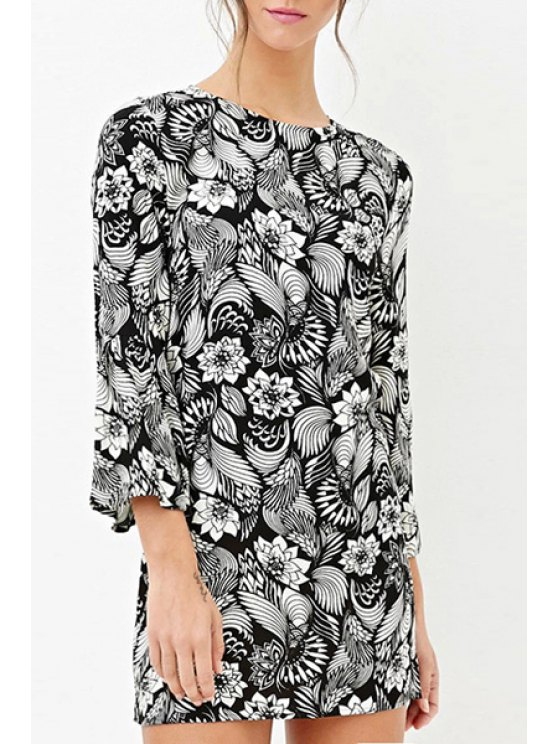 outfits Round Neck Bell Sleeve Floral Dress - BLACK AND WHITE XS