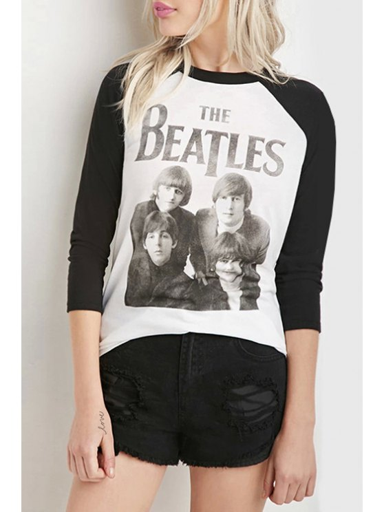 latest Letter Figure Print Color Block Long Sleeves T-Shirt - WHITE AND BLACK XS