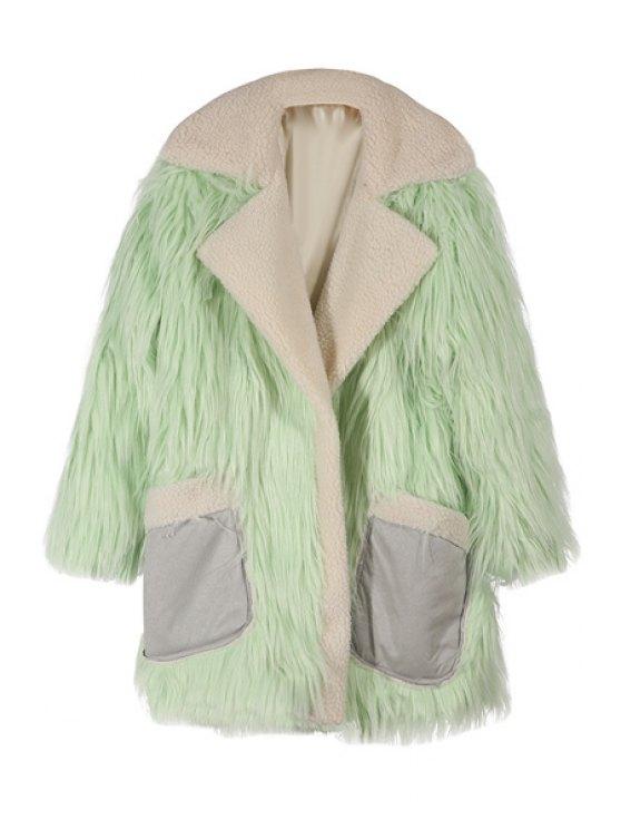 hot Pockets Spliced Faux Fur Turn-Down Collar Coat - LIGHT GREEN XS