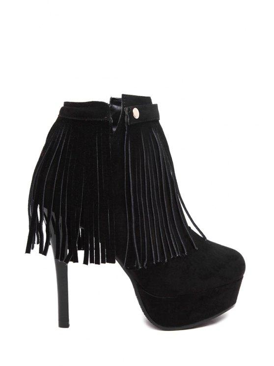affordable Fringe Suede Stiletto Heel Ankle Boots - BLACK 34