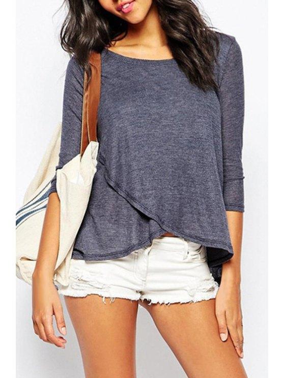 womens 3/4 Sleeve Blue Overlap T-Shirt - BLUE XS