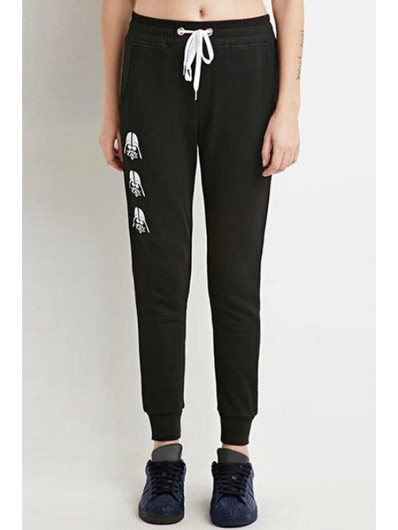 ladies Cartoon Print Elastic Waist Drawstring Pants - BLACK S