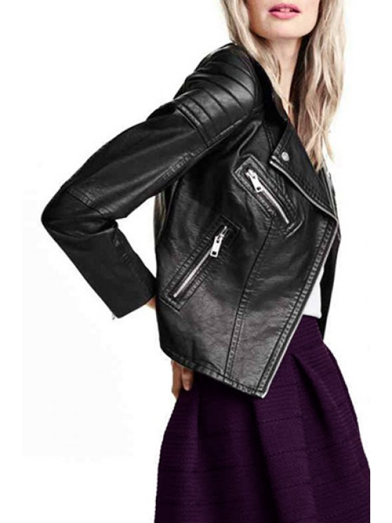 fancy PU Leather Zip Pockets Black Jacket - BLACK XS