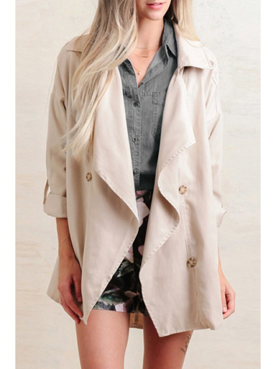 women Solid Color Double-Breasted Turn-Down Collar Trench Coat - KHAKI XS
