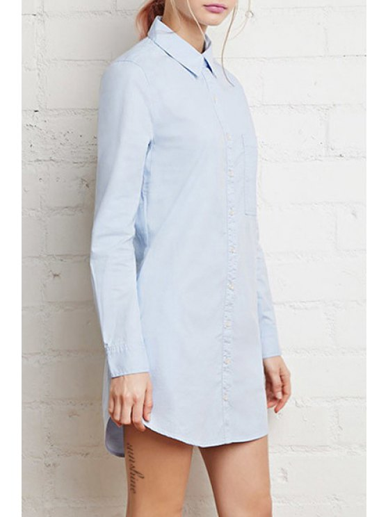 women Single-Breasted Long Sleeve Shirt Dress - BLUE XS
