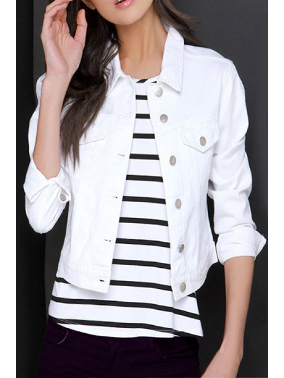 new White Denim Cropped Jacket - WHITE XS