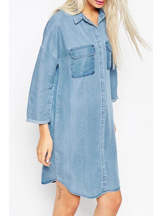 hot Long Sleeve Irregular Hem Denim Dress - BLUE S