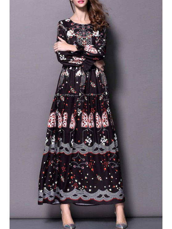 fashion Insect Print Long Sleeve Maxi Dress - AS THE PICTURE S