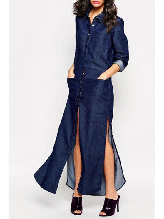 fancy Big Pockets High Slit Denim Dress - BLUE M