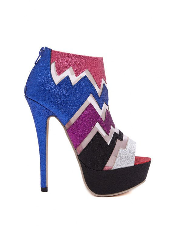 trendy Peep Toe Color Matching High Heel Boots - COLORFUL 35